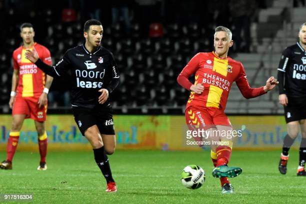 Hilal Ben Moussa of FC Emmen Thijs Dekker of Go Ahead Eagles during the Dutch Jupiler League match between Go Ahead Eagles v FC Emmen at the De...