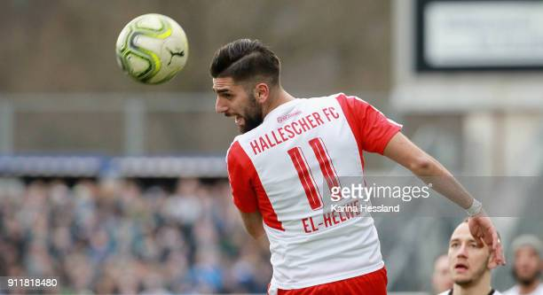 Hilal ElHelwe of Halle during the 3Liga match between FC Carl Zeiss Jena and Hallescher FC at Ernst Abbe Sportfeld on January 28 2018 in Jena Germany