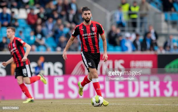 Hilal ElHelwe of Halle plays the ball during the 3 Liga match between Chemnitzer FC and Hallescher FC at community4you ARENA on March 11 2018 in...