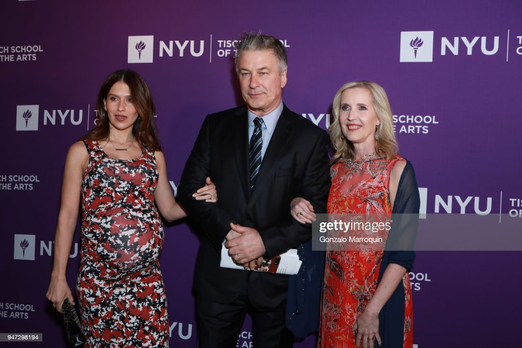 Hilaria Baldwin, Alec Baldwin and Allyson Green during the NYU Tisch School of the Arts GALA 2018 at Capitale on April 16, 2018 in New York City.