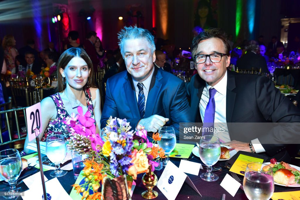 Hilaria Baldwin, Alec Baldwin and Chris Columbus attend NYU Tisch School of the Arts GALA 2018 at Capitale on April 16, 2018 in New York City.