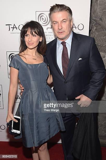 Hilaria Baldwin and actor Alec Baldwin attend 2015 New York Film Critics Circle Awards at TAO Downtown on January 4, 2016 in New York City.