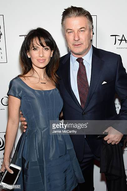 Hilaria Baldwin and actor Alec Baldwin attend 2015 New York Film Critics Circle Awards at TAO Downtown on January 4 2016 in New York City