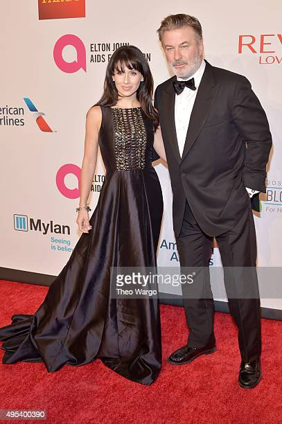 Hilaria Baldwin and actor Alec Baldwin attend Elton John AIDS Foundation's 14th Annual An Enduring Vision Benefit at Cipriani Wall Street on November...