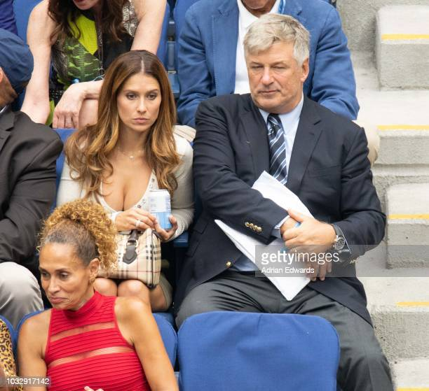 Hilaria Baldwin and Alec Baldwin at Day 12 of the US Open held at the USTA Tennis Center on September 7 2018 in New York City