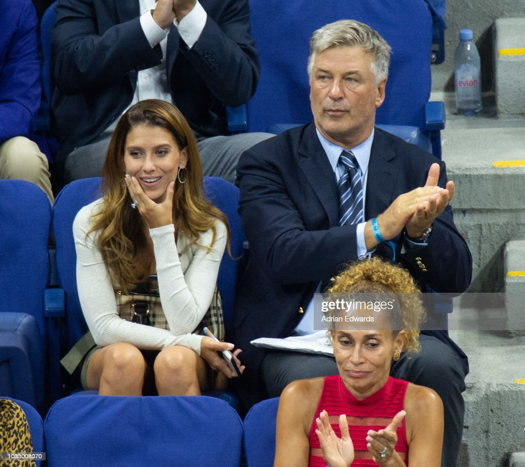 Hilaria Baldwin and Alec Baldwin at Day 12 of the US Open held at the USTA Tennis Center on September 7, 2018 in New York City.