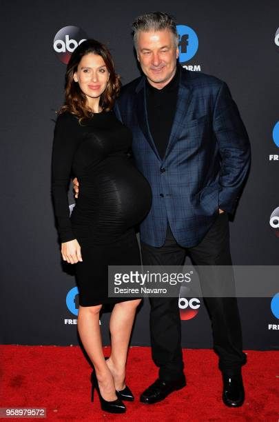Hilaria Baldwin and Alec Baldwin attend the 2018 Disney ABC Freeform Upfront on May 15 2018 in New York City
