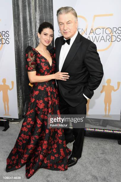 Hilaria Baldwin and Alec Baldwin attend the 25th Annual Screen ActorsGuild Awards at The Shrine Auditorium on January 27 2019 in Los Angeles...