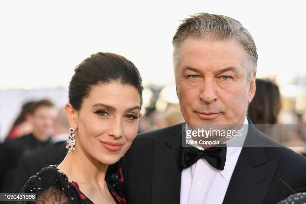Hilaria Baldwin and Alec Baldwin attend the 25th Annual Screen Actors Guild Awards at The Shrine Auditorium on January 27 2019 in Los Angeles...