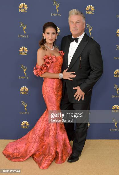 Hilaria Baldwin and Alec Baldwin attend the 70th Emmy Awards at Microsoft Theater on September 17 2018 in Los Angeles California