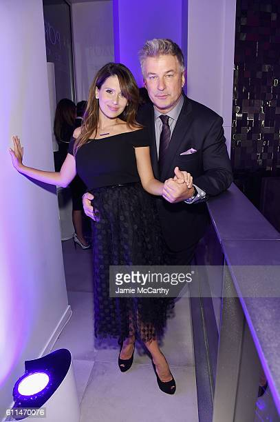 Hilaria Baldwin and Alec Baldwin attend the HOLA USA launch hosted by Alec Hilaria Baldwin at Porcelanosa on September 29 2016 in New York City