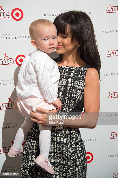 """Hilaria Baldwin and Carmen Baldwin attend the """"Annie"""" For Target Launch Event at Stage 37 on November 4, 2014 in New York City."""