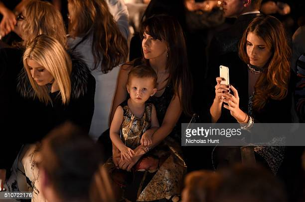 Hilaria Baldwin and daughter Carmen Baldwin attend the Carmen Marc Valvo Fall 2016 fashion show during New York Fashion Week: The Shows at The Arc,...