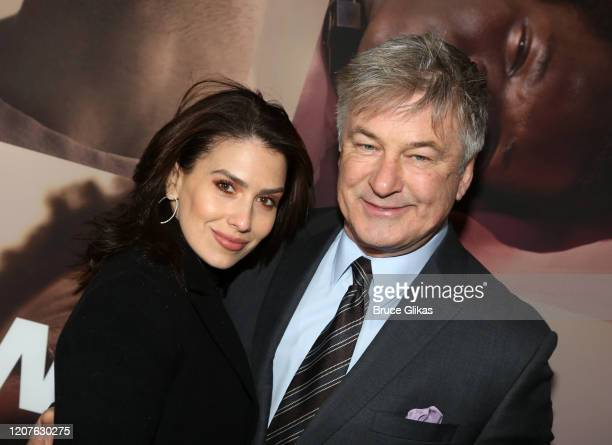Hilaria Baldwin and husband Alec Baldwin pose at the opening night of the revival of Ivo van Hove's West Side Storyon Broadway at The Broadway...