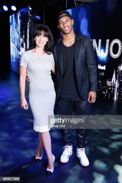 Hilaria Baldwin and Victor Cruz atttend TWC Studios on January 28 2014 in New York City