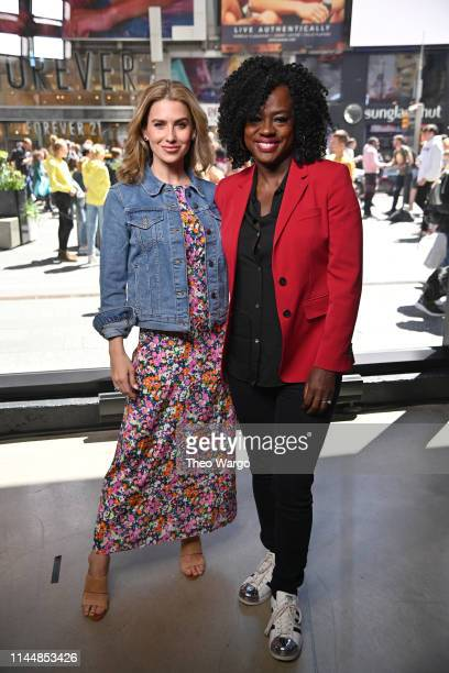 Hilaria Baldwin and Viola Davis visit Extra at Times Square on April 24 2019 in New York City