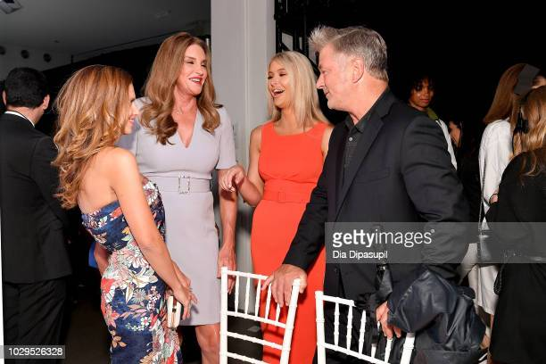 Hilaria Baldwin Caitlyn Jenner Sophia Hutchens and Alec Baldwin speak backstage at the Badgley Mischka show during New York Fashion Week The Shows at...