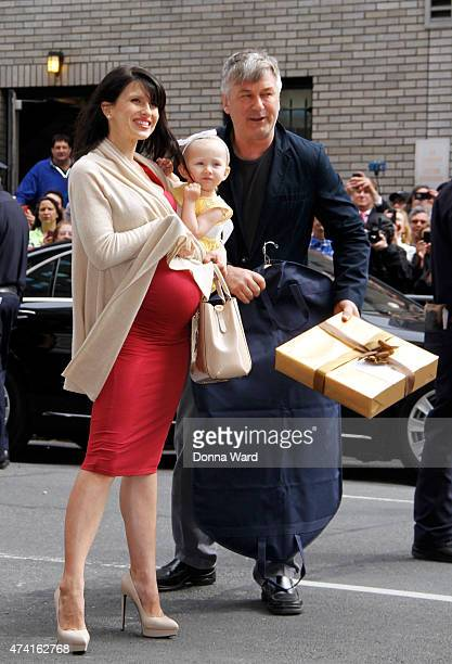 """Hilaria Baldwin, Carmen Baldwin and Alec Baldwin arrive for the final episode of """"The Late Show with David Letterman"""" at the Ed Sullivan Theater on..."""