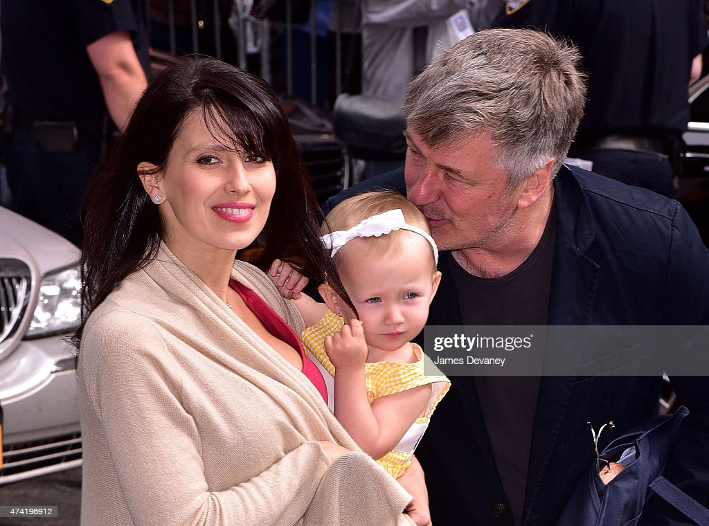 Hilaria Baldwin, Carmen Baldwin and Alec Baldwin arrive to the 'Late Show With David Letterman' at Ed Sullivan Theater on May 20, 2015 in New York City.