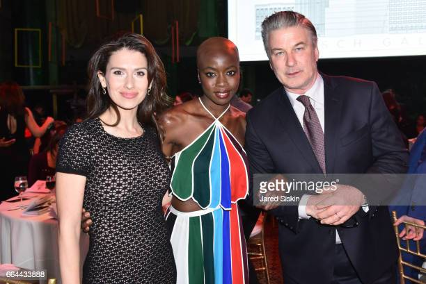 Hilaria Baldwin Danai Gurira and Alec Baldwin attend the Tisch School Gala 2017 at Cipriani 42nd Street on April 3 2017 in New York City