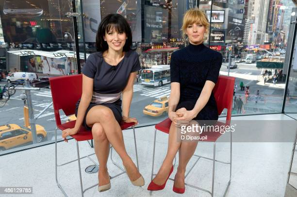 Hilaria Baldwin interviews actress Kelly Reilly during her visit to 'Extra' at their New York studios at HM in Times Square on April 22 2014 in New...