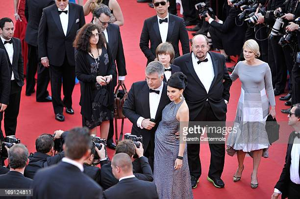Hilaria Thomas and actor Alec Baldwin with director James Toback Stephanie Toback and Andre Toback attend the premiere for 'Seduced and Abandoned'...