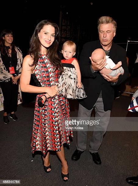 Hilaria Thomas, Carmen Baldwin, Rafael Baldwin and Actor Alec Baldwin attend Carmen Marc Valvo Women's and Men's Collection S/S 2016 during New York...