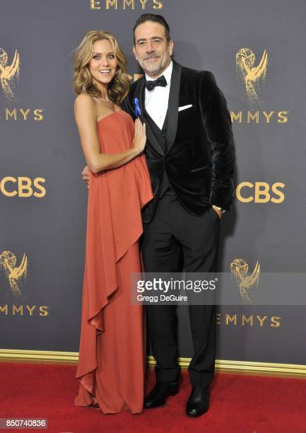 Hilarie Burton and Jeffrey Dean Morgan arrive at the 69th Annual Primetime Emmy Awards at Microsoft Theater on September 17 2017 in Los Angeles...