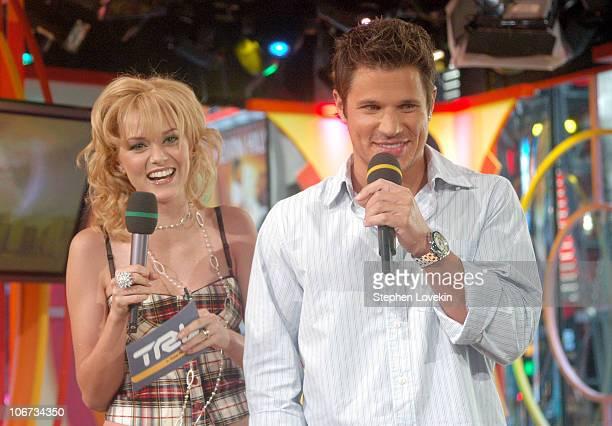 Hilarie Burton and Nick Lachey during Nick Lachey Bernie Mac and Vanessa Carlton Visit MTVs' TRL September 10 2004 at MTV Studios in New York City NY...