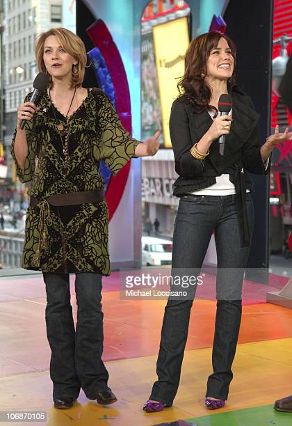 Hilarie Burton and Sophia Bush during Beyonce Knowles and the Cast of 'One Tree Hill' Visit MTV's 'TRL' February 7 2006 at MTV Studios in New York...