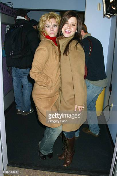 Hilarie Burton and Sophia Bush of One Tree Hill during The Cast of One Tree Hill Takes Over MTV's TRL January 25 2005 at MTV Studios in New York City...
