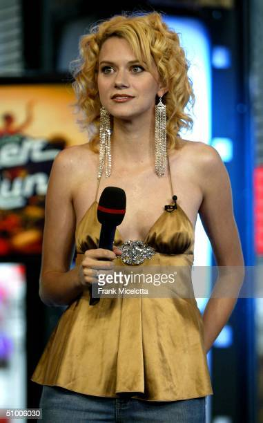 MTV TRL VJ Hilarie Burton appears on stage during MTV TRL Times Square Film Festival Week at the MTV Studios June 28 2004 in New York City