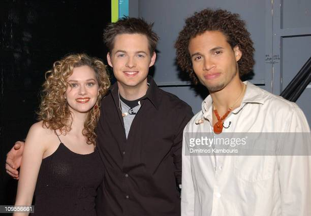 Hilarie Burton Damien Fahey and Quddus during MTV's 2003 'TRL' Awards February 17 2006 at MTV Studios Times Square in New York City New York United...