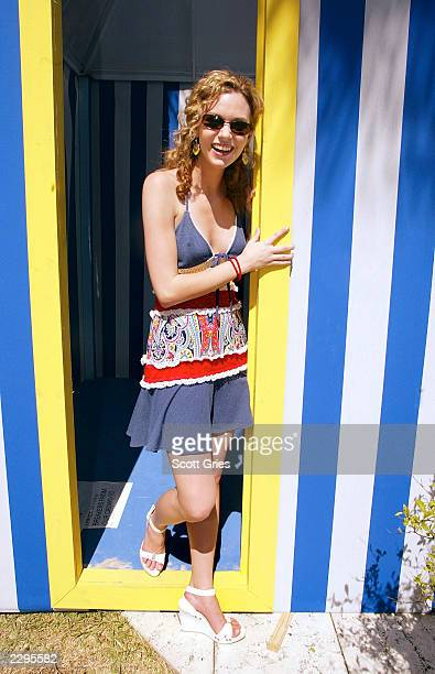 Hilarie Burton stands backstage during a taping for MTV Spring Break 2003 at the Surfcomber Hotel March 12 2003 in Miami Beach Florida