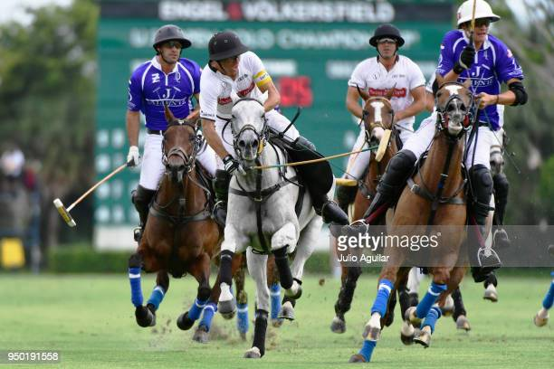 Hilario Ulloa of The Daily Racing Form crosses the ball in the US Open Polo Championship April 22 2018 in Wellington Florida The Daily Racing Form...