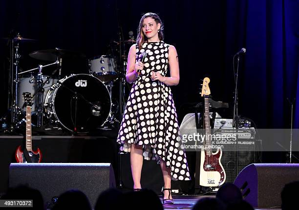 Hilarity for Charity cofounder Lauren Miller Rogen speaks onstage during Hilarity for Charity's annual variety show James Franco's Bar Mitzvah...