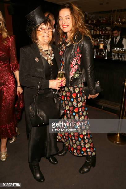 Hilary Alexander and Alice Temperley attend a private view of 'The Milliner' a new painting by artist Lorna May Wadsworth of Milliner Victoria Grant...