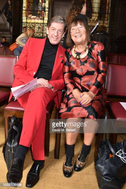 Hilary Alexander and guest attend the Ryan LO front row during London Fashion Week September 2018 at Stationers' Hall on September 14 2018 in London...
