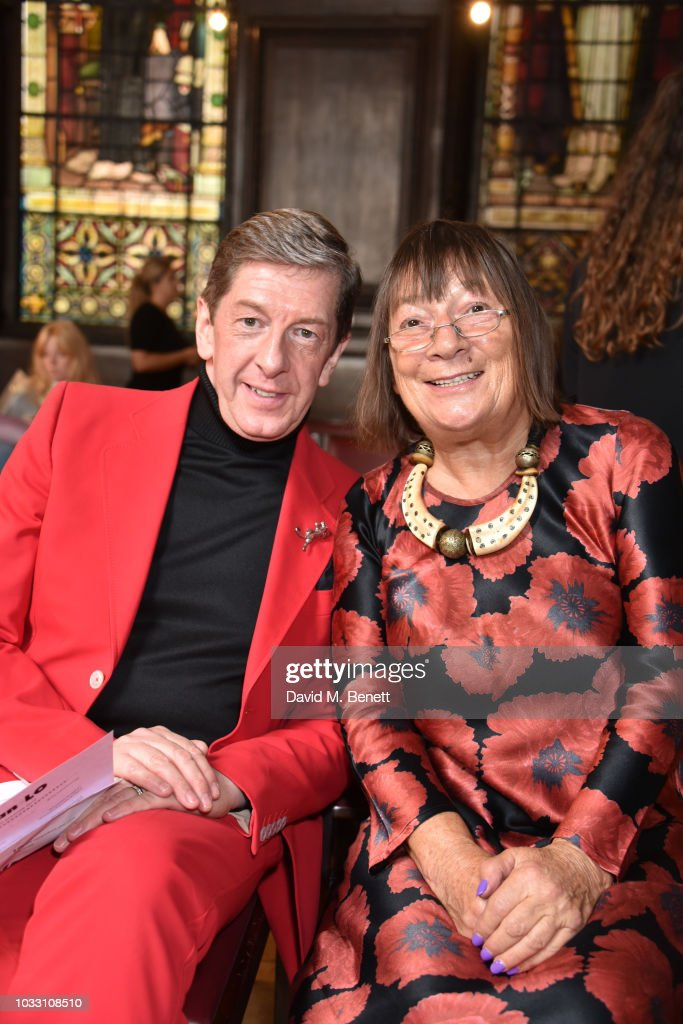 Hilary Alexander (R) and guest attend the Ryan LO front row during London Fashion Week September 2018 at Stationers' Hall on September 14, 2018 in London, England.