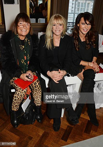 Hilary Alexander Jo Wood and Lizzie Cundy attend the first Fifty Plus Fashion Week hosted by JD Williams at Cafe Royal on February 18 2016 in London...