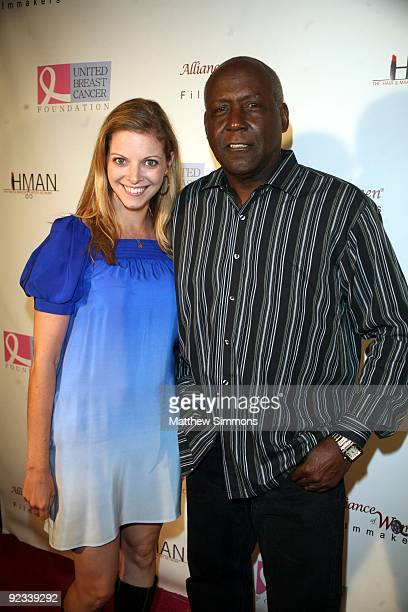 Hilary Barraford and Richard Roundtree attend the Hollywood Hair and Makeup Artists Give Back event to benefit the United Breast Cancer Foundation at...