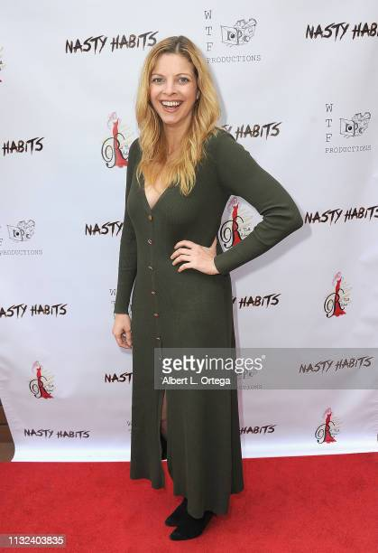 Hilary Barraford arrives for the Premiere Of Nasty Habits held at Sepulveda Screening Room on March 23 2019 in Los Angeles California