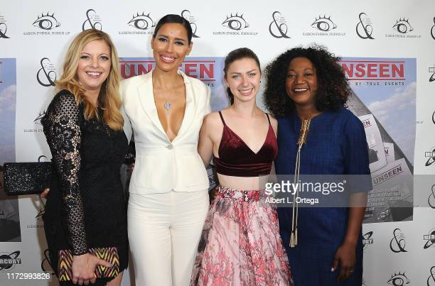 Hilary Barraford Rebecca Da Costa Isabella BlakeThomas and Yolanda Wood arrive for the Premiere Of Unseen held at Arena Cinelounge on September 6...
