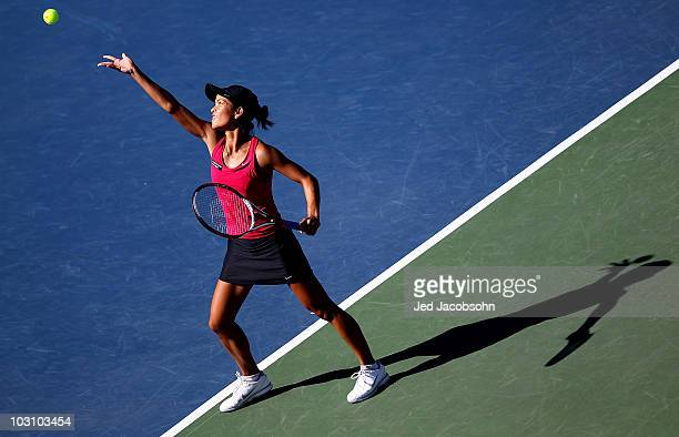 Hilary Barte serves against Dominika Cibulkova of Slovakia during Day 1 of the Bank of the West Classic at Stanford University on July 26, 2010 in...