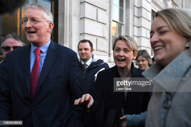Hilary Benn and MP Yvette Cooper of the Labour Party leave the Cabinet Office on January 17 2019 in London England After defeating a vote of no...