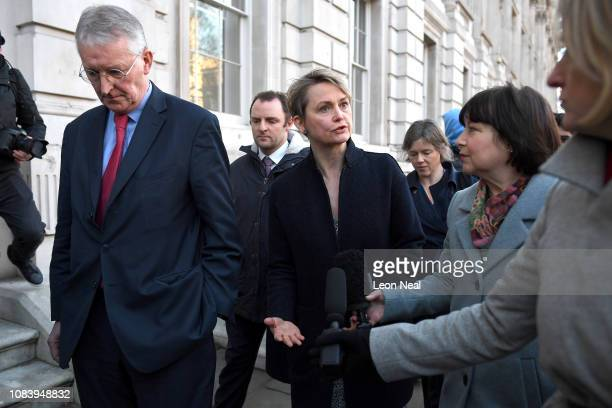 Hilary Benn and MP Yvette Cooper of the Labour Party speak to journalists as they leave the Cabinet Office on January 17 2019 in London England After...