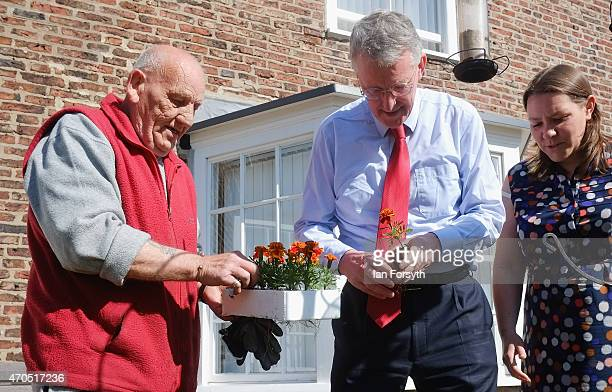 Hilary Benn the Shadow Communities Secretary and Labour candidate for Redcar Anna Turley talk about gardening with volunteer gardner Harry Slattery...