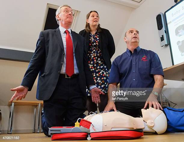 Hilary Benn the Shadow Communities Secretary and Labour candidate for Redcar Anna Turley take part in a first aid training course with Instructor...