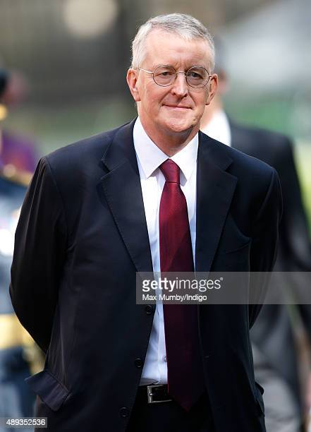 Hilary Benn walks to Church House to watch a flypast of Spitfire and Hurricane aircraft after attending the Battle of Britain 75th Anniversary...