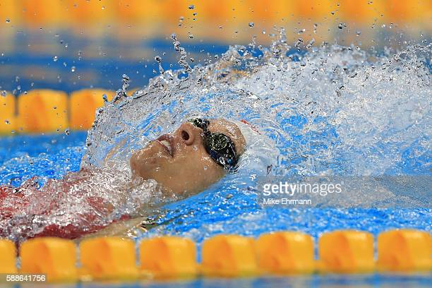 Hilary Caldwell of Canada competes in the first Semifinal of the Women's 200m Backstroke on Day 6 of the Rio 2016 Olympic Games at the Olympic...